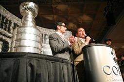 Jeffrey Pollack and Gary Bettman with the Stanley Cup.