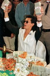 Scotty Nguyen celebrates after winning the 1998 WSOP main event.