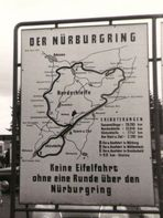 Circuit map 1964. It reads - No driving in the Eifel [mountains] without a lap on the Nürburgring
