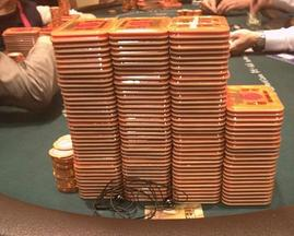 Sam Trickett's tweeted photo of his HK$14.3 million stack of plaques