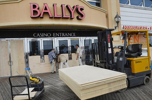 Bally's Boards Up Before Storm Image: Associate Press