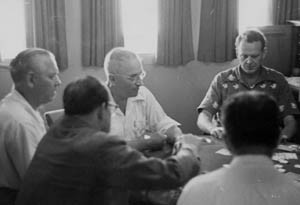 Truman Plays Poker with Staff Aboard the Williamsburg
