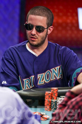 Merson during playdown to the _WSOP_ main event final table