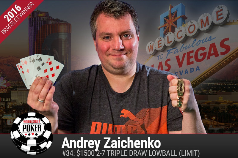 Andrey Zaichenko Has Won The 2016 World Series Of 1500 Deuce To Seven Triple Draw Lowball Event Topping 358 Players To Win His First Goldcelet
