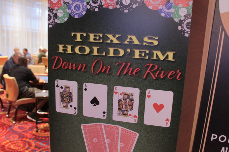 A sign for the new Texas Hold'em Down On The River game