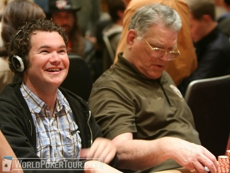 Bryan Devonshire (left) and T.J. Cloutier on Day 1b of the WPT World Championship
