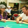 Liz Lieu and Vince Van Patten on Day 1 of the WPT L.A. Poker Classic