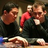 Bernard Lee (left) and Justin Bonomo on Day 1 of the WPT Foxwoods Poker Classic