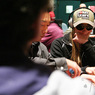 Vanessa Rousso stares down Allen Kessler on Day 1a of the Foxwoods World Poker Finals