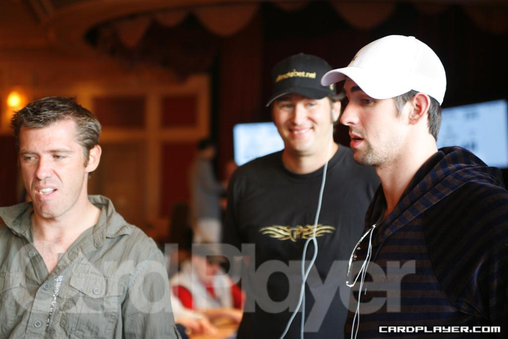 Michael Phelps with Layne Flack and Phil Hellmuth