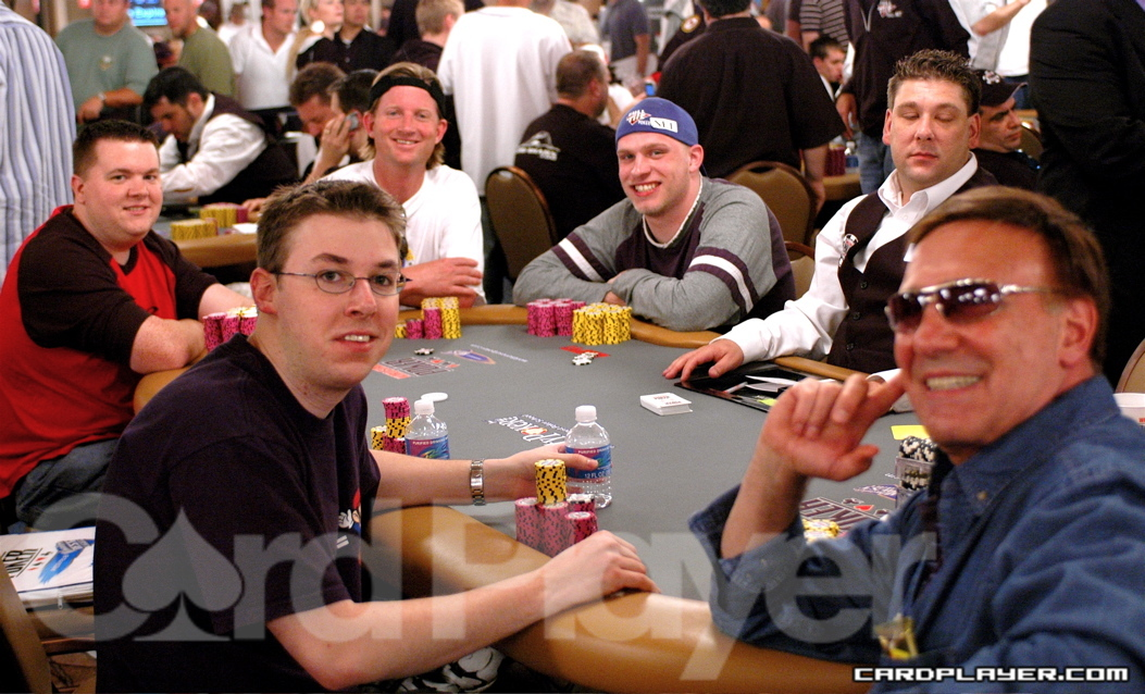 Reuben Peters in white at this year's WSOP where he cashed in the main event