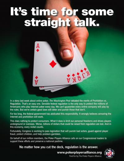 Poker Players Alliance Running Ads in Washington