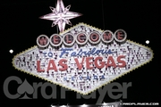 Las Vegas Sign Made of Cards, Chips, and Dice