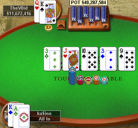 The final hand of the 2007 WCOOP main event, TheV0id rivers a straight to eliminate ka$ino